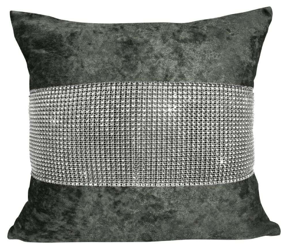 LUXURY CRUSHED VELVET DIAMANTE FILLED CUSHION CHARCOAL COLOUR